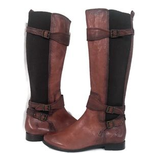 Frye Anna Gore Tall Brown Riding Boots
